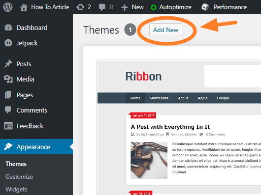 add theme on your wordpress blog