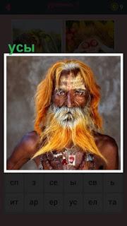 мужчина с длинными волосами и рыжими усами пожилого возраста