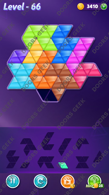 Block! Triangle Puzzle Master Level 66 Solution, Cheats, Walkthrough for Android, iPhone, iPad and iPod