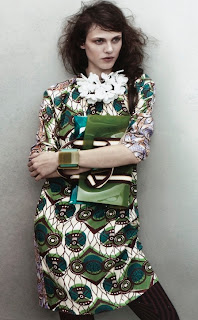 Green Print Dress & Bag, Marni for H & M