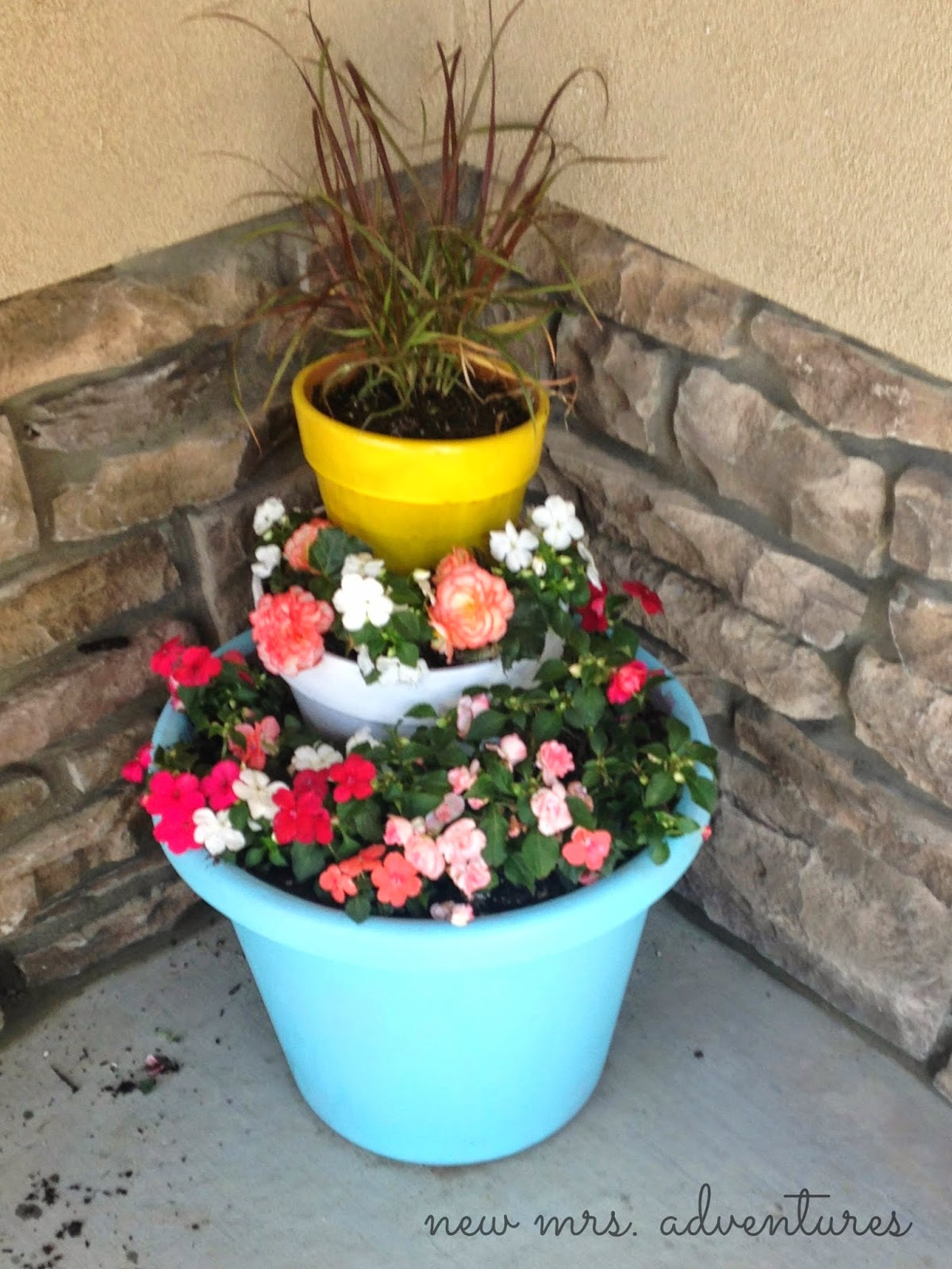 Three Tier Flower Pots Barnabas Lane Diy Spring Tiered Flower Pots