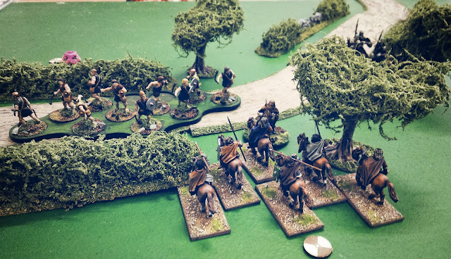Scots mounted Hearthguard charge Anglo-Dane warriors