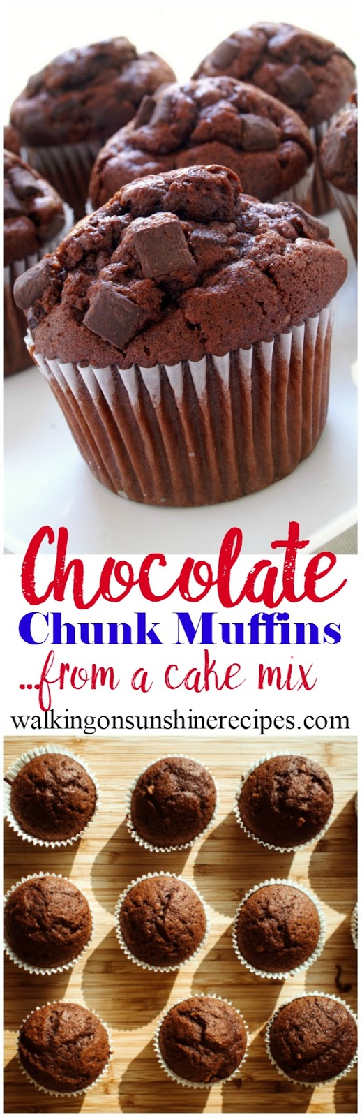 You can have chocolate for breakfast with these chocolate chunk muffins.