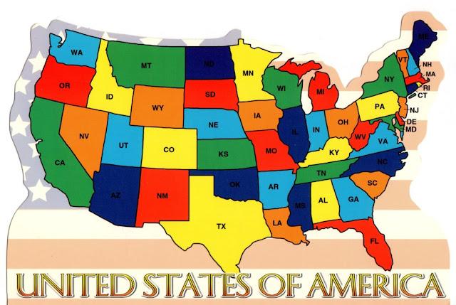 mapa dos Estados Unidos e estados