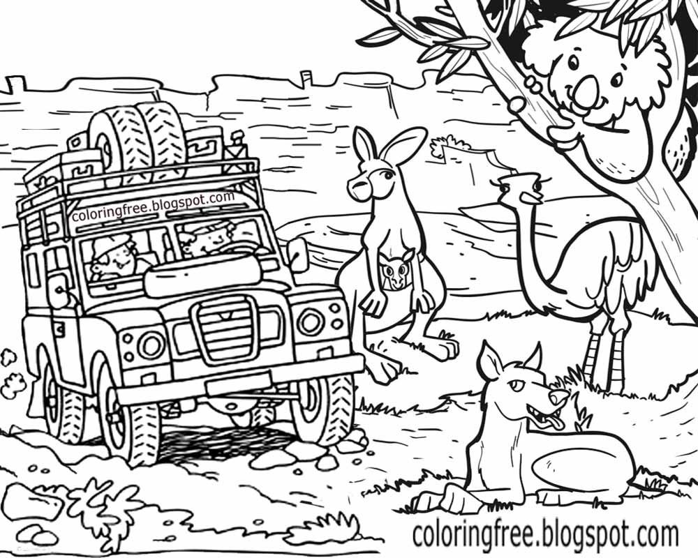 Animals Of Australia Safari Tour Printable Australian Wildlife Colouring For Kids Clip Art To Colour