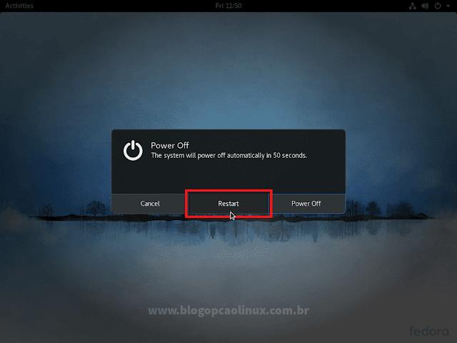 """Clique em """"Restart"""" para reiniciar o computador"""