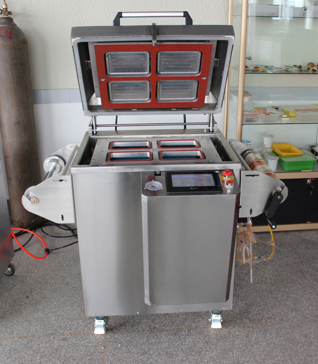 cef61c70b41 Model YX-430A tray sizes in Max range 430 305 100mm(customizable) Machine  sizes   940 625 1015mm. Packaging speed  3-4trays per min