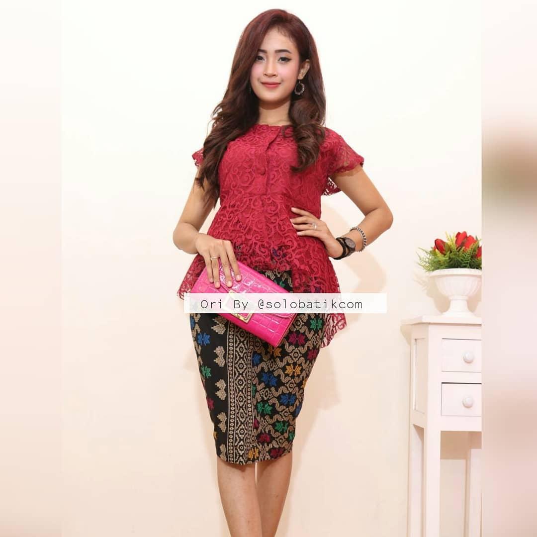Gamis Batik Kombinasi Brokat Info Gamis Batik Ibu