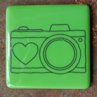 sassy glass studio fused glass coaster with camera
