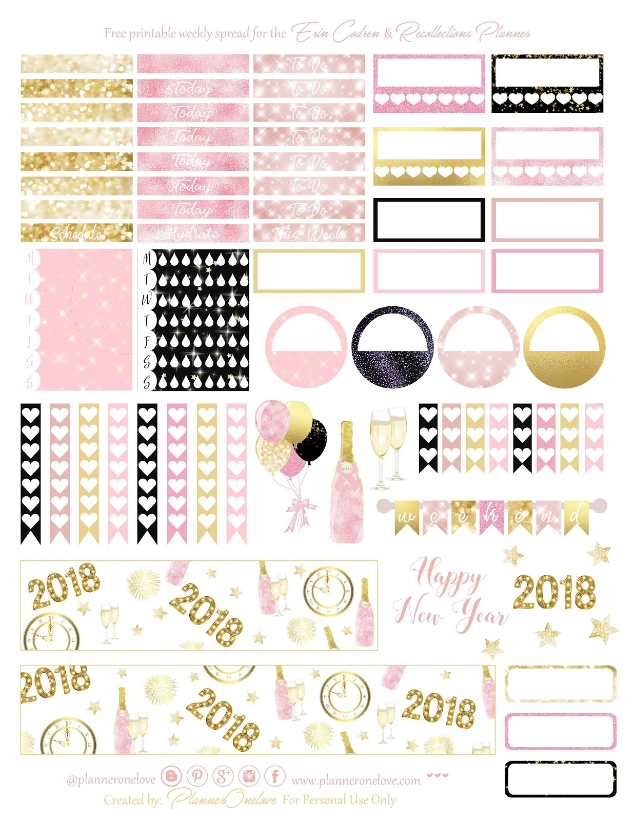Free New Year S Printable Planner Sticker Spread For The Erin