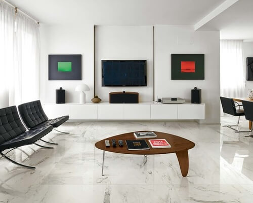 White Living Room Marble Floor Design