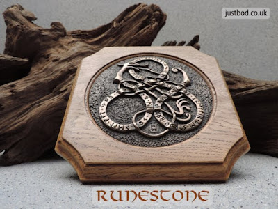Bronze and Oak Runestone Wall Plaque from Justbod