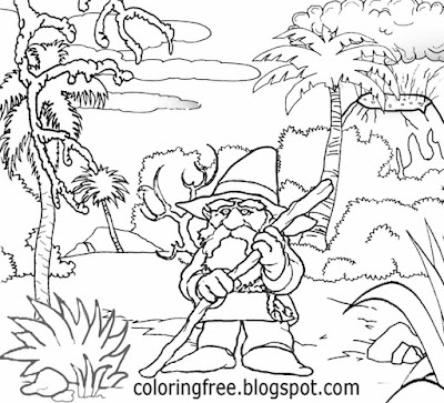 Wizard mountain goblin king wonderful realm of magical mystical creatures drawing for kids to color