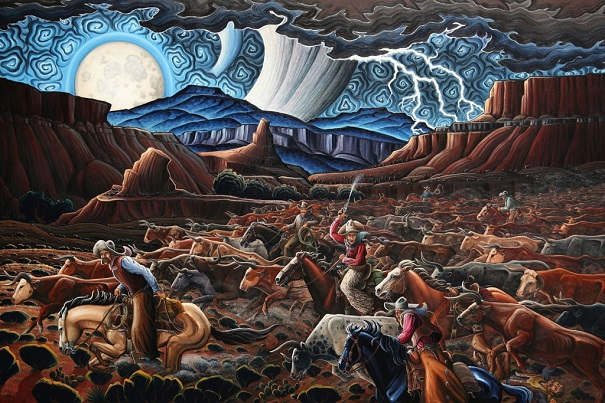 "by Kim Wiggins, ""Stampede at Castle Gap"" - oil 