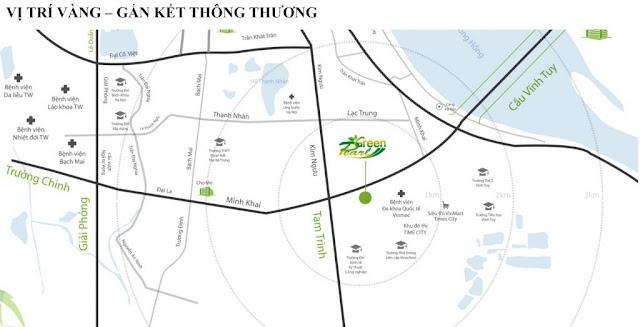 Vị trí chung cư Green Pearl nằm ngay trung tâm quận Hai Bà Trưng