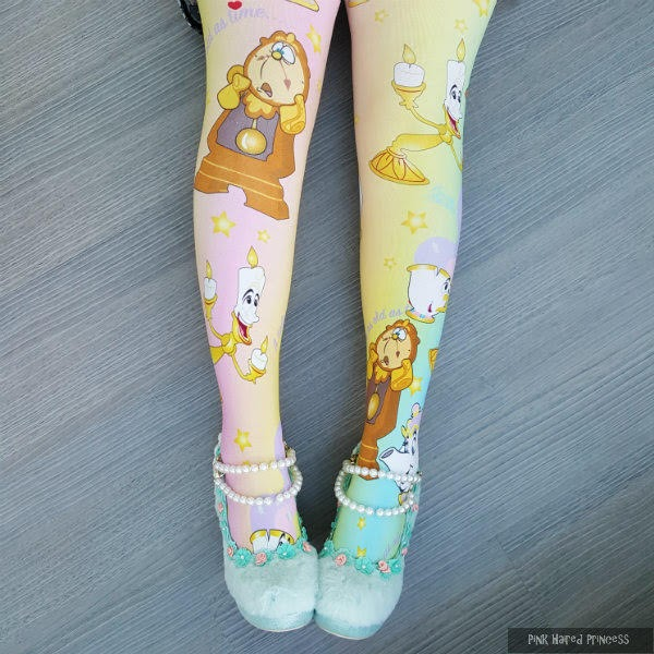 pearl and fluffy shoes worn with disney pastel tights