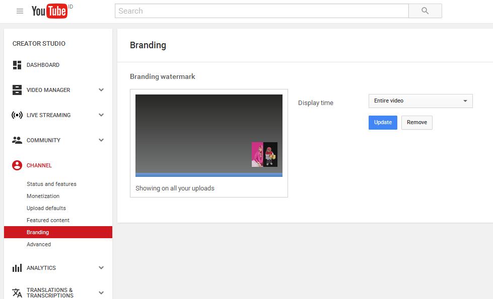 Memasang Watermark / Logo Branding Channel Youtube