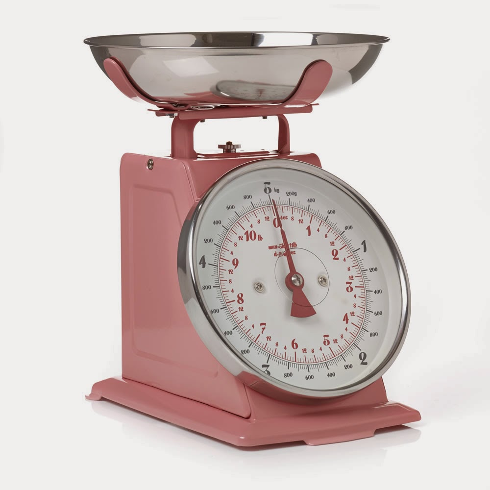 vintage 1950's style pink weighing scales