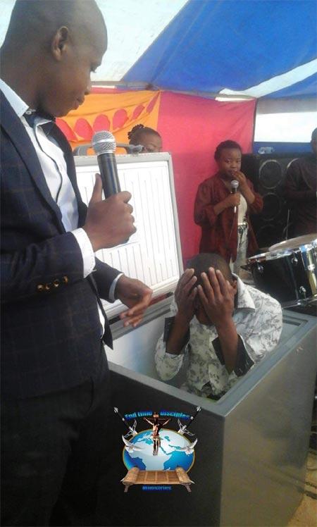 Pastor Penuel Mnguni orders chruch members to stay inside refrigirator
