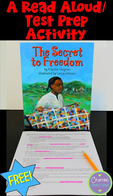 This blog post contains a test prep activity that can be used with the read-aloud book The Secret to Freedom. Use the author's note to model an excellent test-taking strategy!