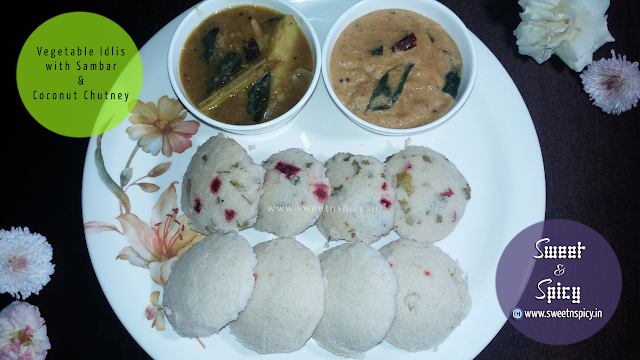 Idlis with Sambar and Coconut Chutney