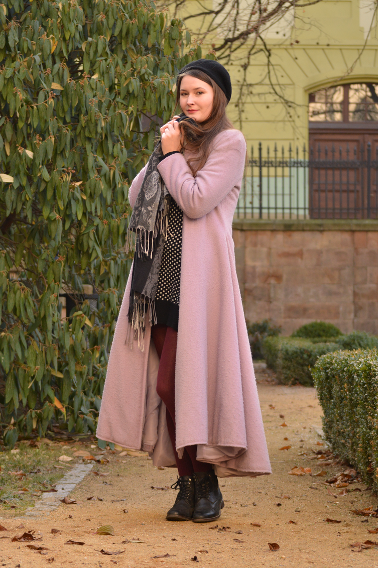 knit polka dot dress, winter coat, winter outfit, georgiana quaint, fashion blog, bloggerka modowa