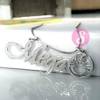 kalung nama monel silver grafir - mega
