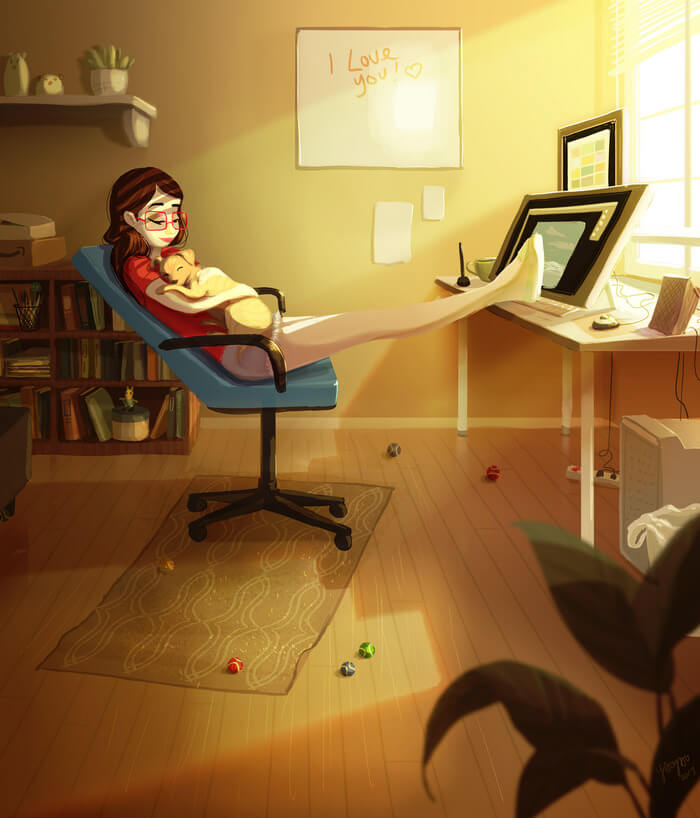 20 Beautiful Illustrations That Show What's Like To Live Alone - Working The Way You Like