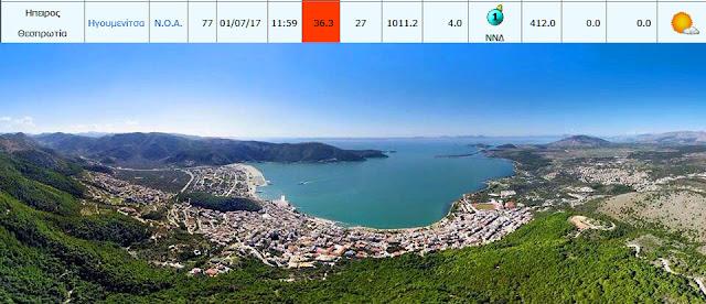 Καμίνι που βράζει η Ήπειρος - Στους 36,3 βαθμούς αυτή την ώρα η θερμοκρασία στην Ηγουμενίτσα