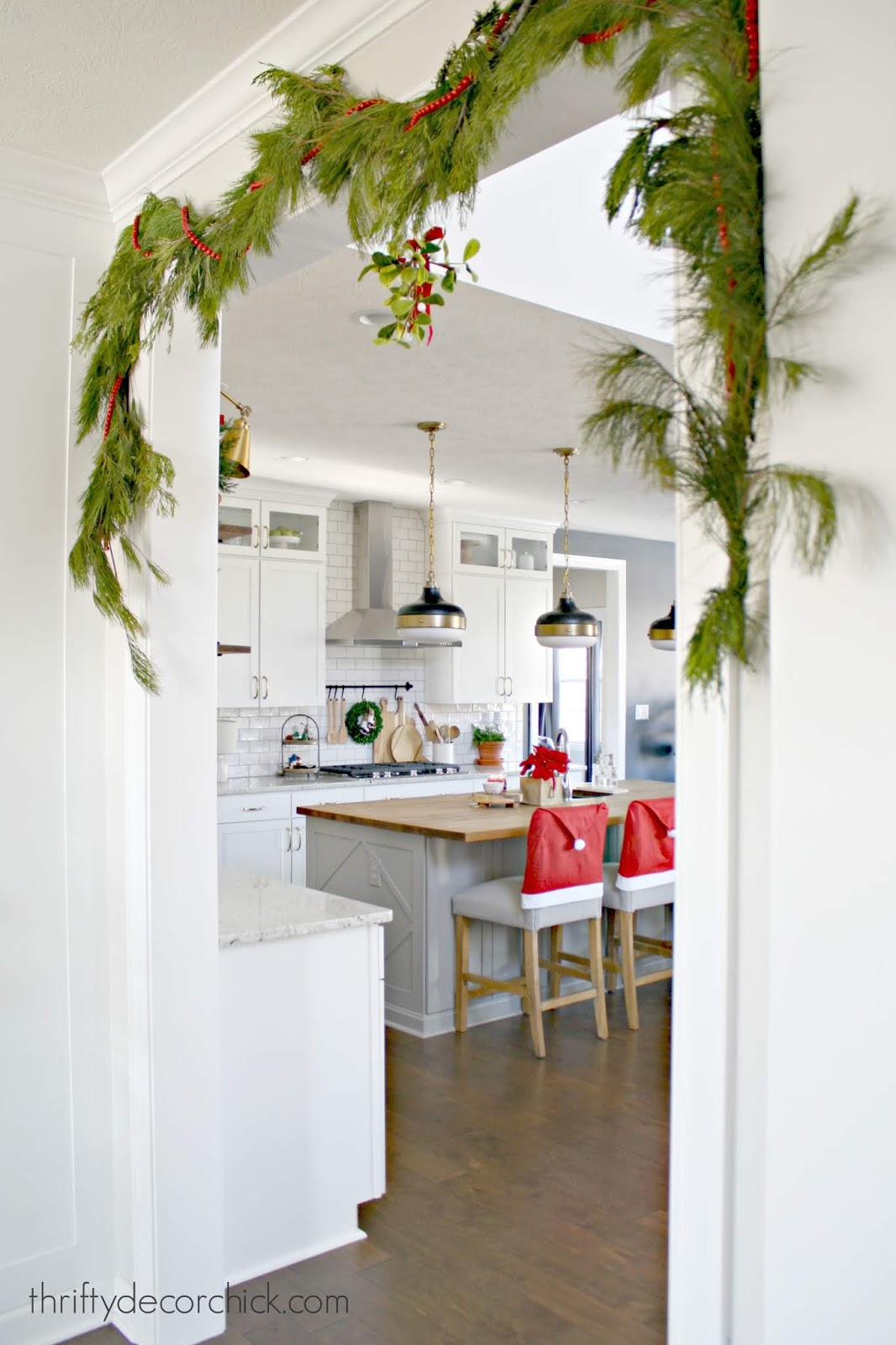 Christmas gray and white kitchen