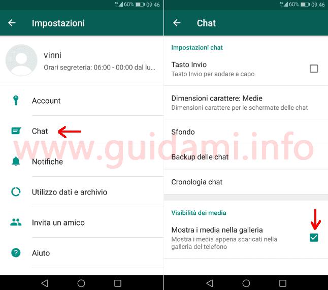 WhatsApp schermata Impostazioni Chat opzione Visibilità dei media