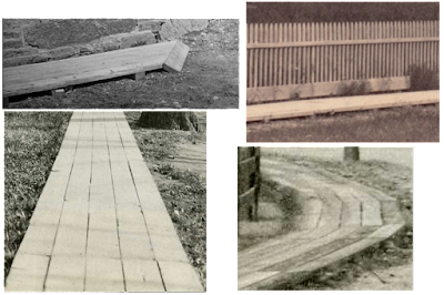 Close-up views of some of the old plank sidewalks of Brookline