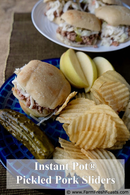 Instant Pot® pickled pork sliders combine bacon, ground pork, and pickles for a savory sandwich. These are terrific with coleslaw or over rice. Use the Instant Pot® or make it on the stove top--with only 5 common ingredients, this recipe is easy to make and fun to eat.