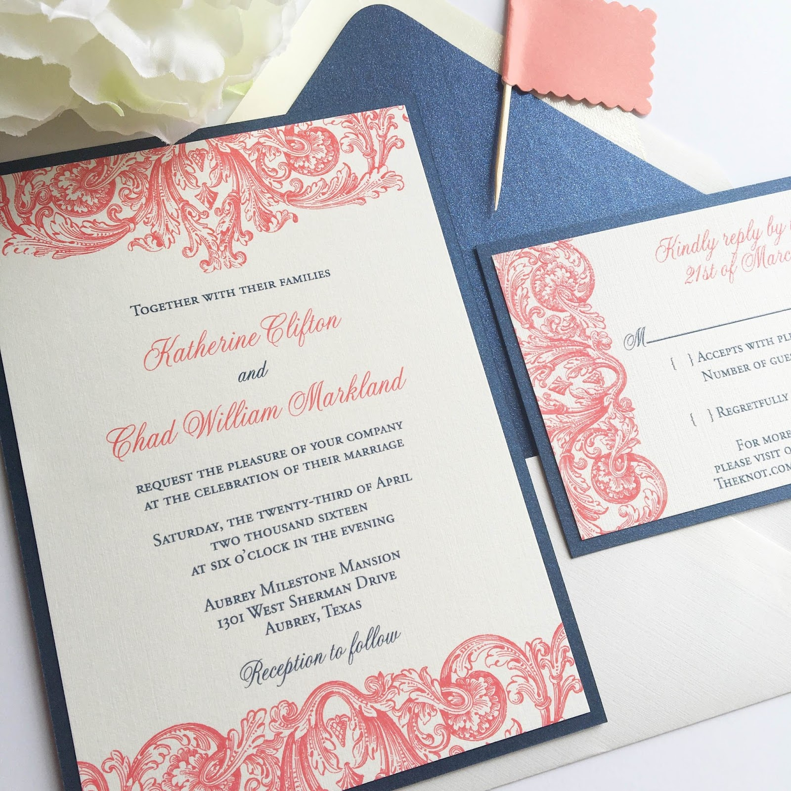 Navy and Coral Plume Wedding Invitation | Blush Paperie