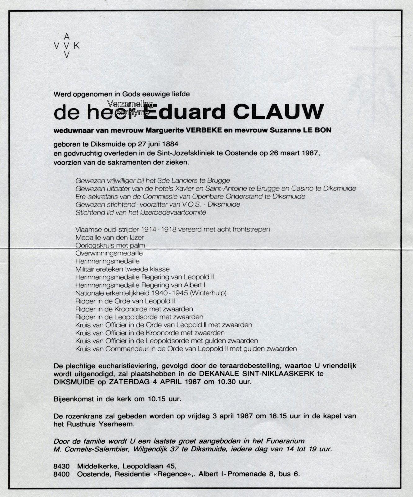 Rouwbrief Edward Clauw. Verzameling Leondyme