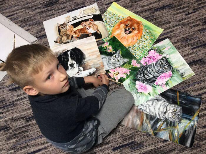 Nine-Year-Old Boy 'Sells' His Paintings For Food And Supplies For Shelter Animals