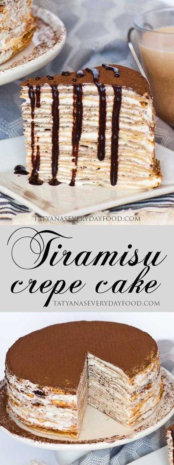 Tiramisu Crepe Cake #dessert #tiramisu #crepe #cake