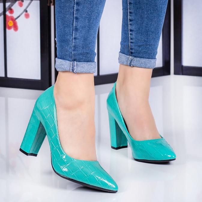 Pantofi dama cu toc gros turcoaz eleganti de zi ieftini