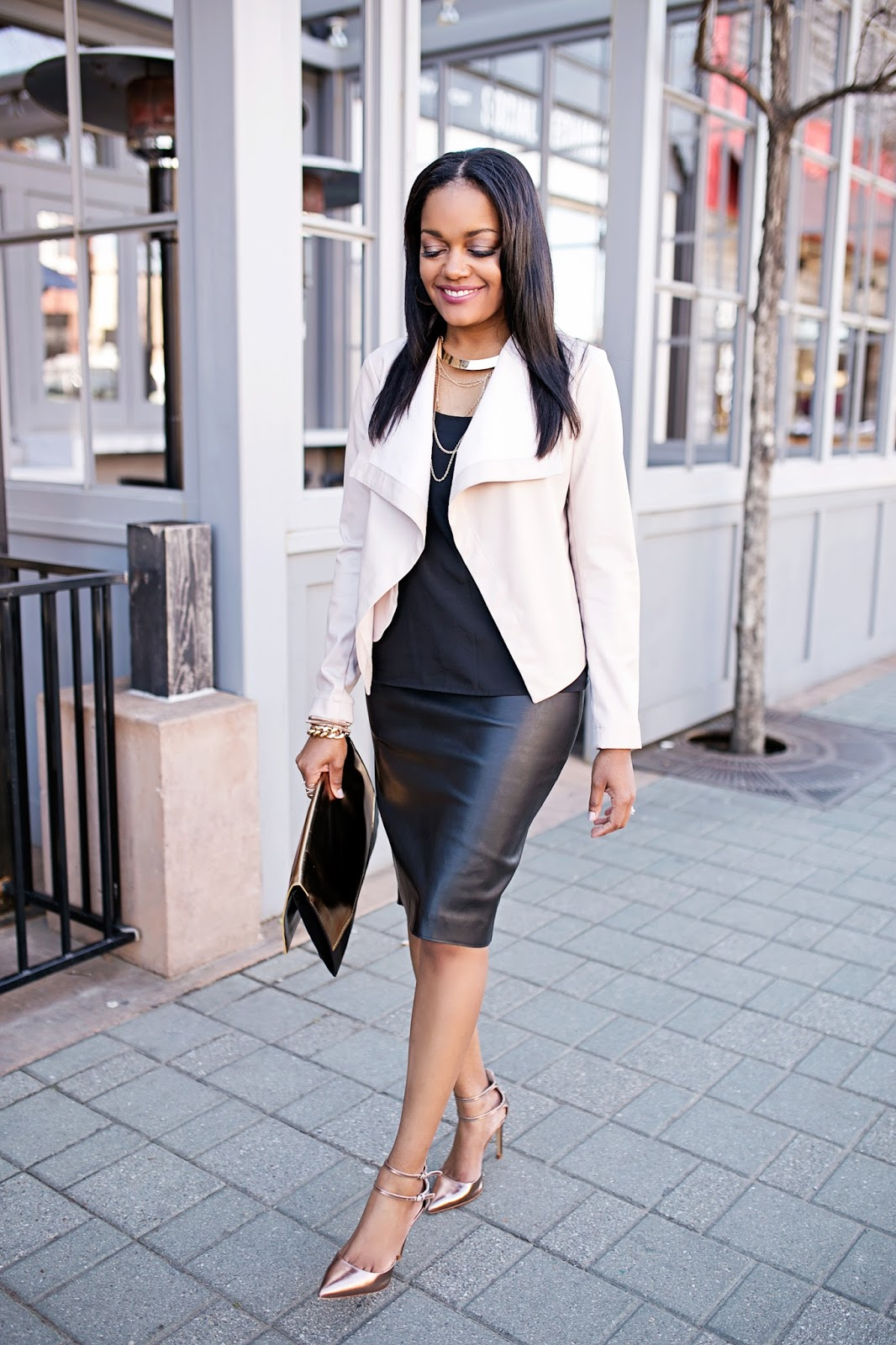 blush pink- leather jacket-zara leather pencil skirt- look for less- budget friendly fashion- how to wear leather skirt- what to wear to church- wear to work- stylish spring jackets- fashion blogger- dallas blogger- brown girl blogger- black fashion blogger