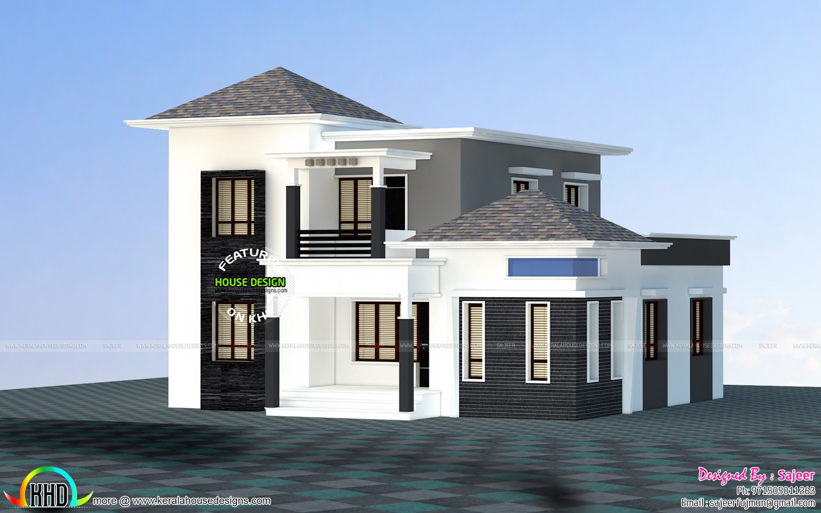 Front Elevation Landscaping : Low budget villa all side view kerala home design and