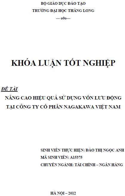 Nâng cao hiệu quả sử dụng vốn lưu động tại Công ty Cổ phần Nagakawa Việt Nam