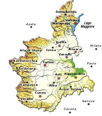 Cartina Dettagliata Piemonte.Italia Mappa Regionale Luglio 2013