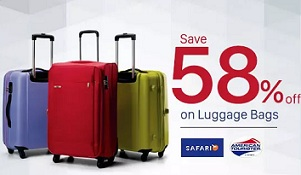 Upto 50% Off + Extra 58% Cashback on American Tourister & Safari Luggage Bags @ Paytm