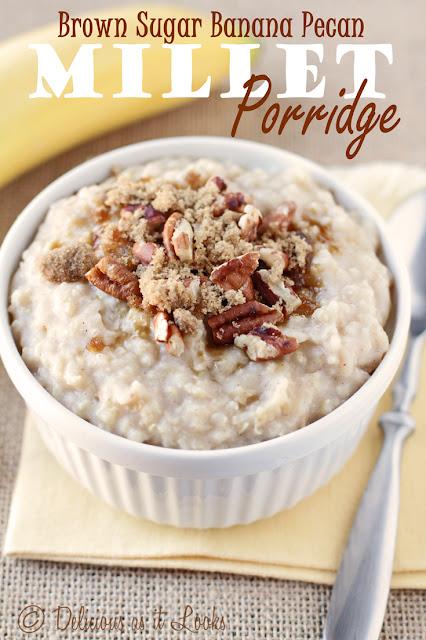 Low-FODMAP Brown Sugar Banana Pecan Millet Porridge  /  Delicious as it Looks