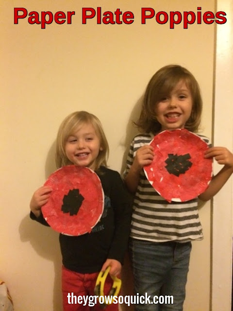 Paper plate poppies, remembrance day