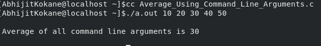 Output of C program to find average of n command line arguments