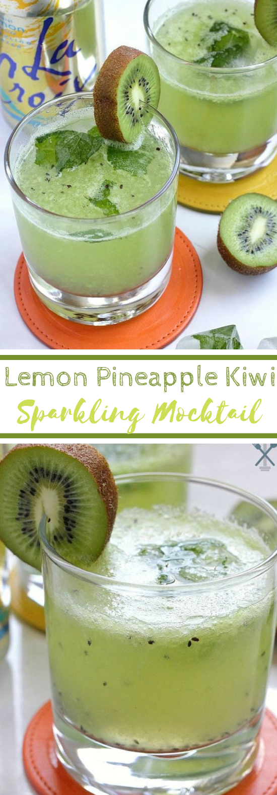 Lemon Pineapple Kiwi Sparkling Mocktail #cocktail #drinks
