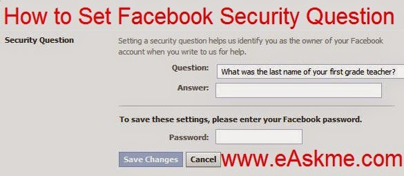 How to Add Security Question to Facebook : eAskme