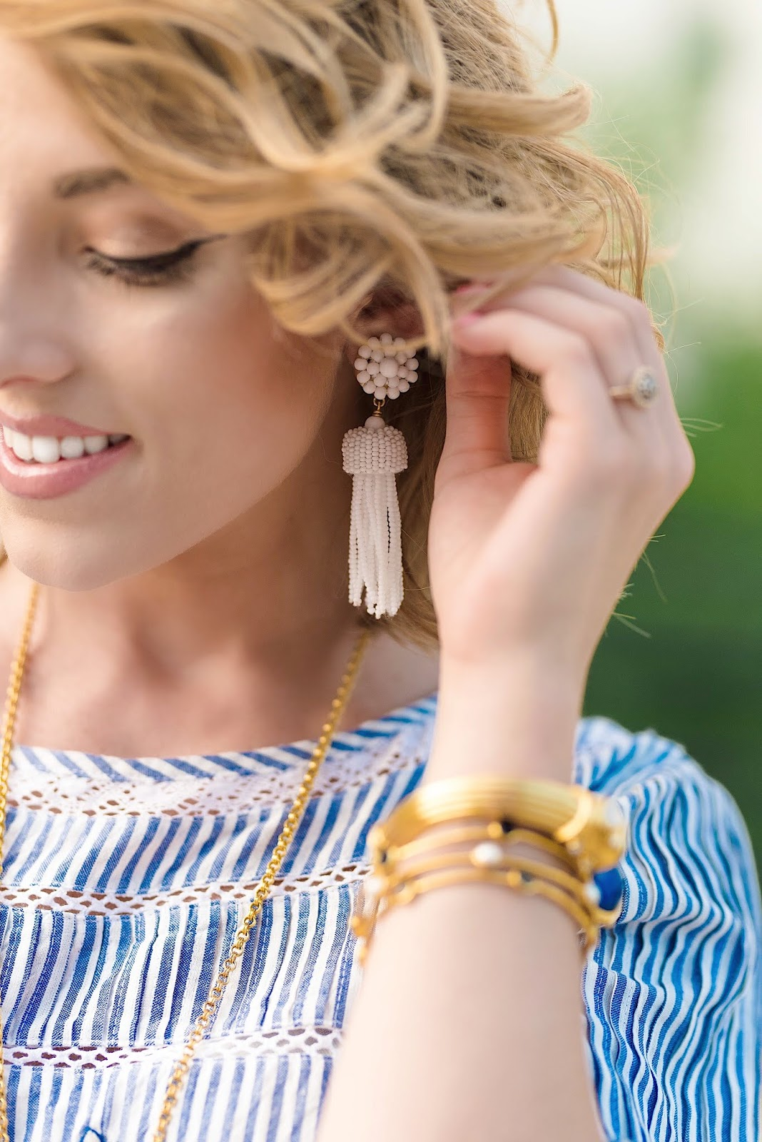 Lisi Lerch Tassel Earrings in White - Something Delightful Blog