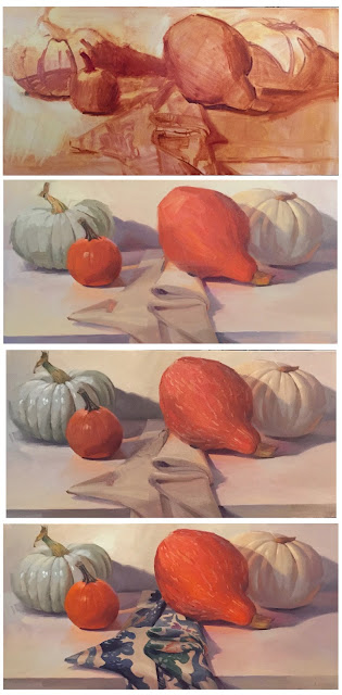 work in progress oil painting pumpkin art